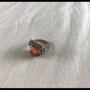 Boho Raw Amber Wire Wrap Ring Size 8